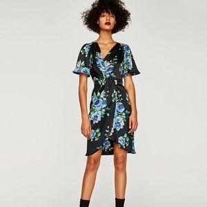 Zara knotted floral print dress